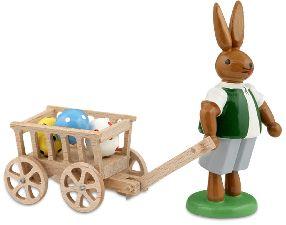 Osterhase mit Handwagen
